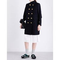 Sacai Ladies Navy Classic Double-Breasted Wool Coat