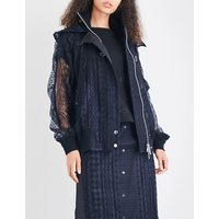 Sacai Ladies Navy Casual Hooded Lace Jacket, Size: 1