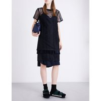 Cable-pattern embroidered lace dress