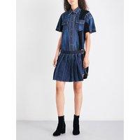Pleated denim dress