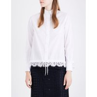 Lace-detail woven shirt