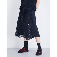 Cropped floral-lace gabardine trousers
