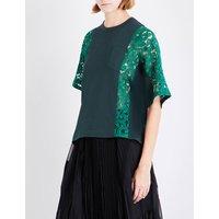 Lace-panel cotton T-shirt