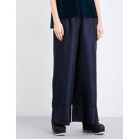 Paisley-patterned high-rise wide jacquard trousers