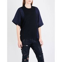 Oversized jacquard and linen-blend top