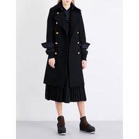 Sacai Ladies Black Exposed Zip Shell Underlay Boiled-Wool Coat