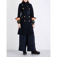 Sacai Ladies Navy Exposed Zip Shell Underlay Boiled-Wool Coat