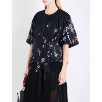Floral-embroidered shell top