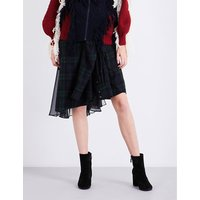 Checked cotton and chiffon patchwork skirt
