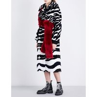 Zebra faux-fur coat