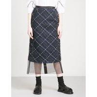 Chiffon-hem tweed midi skirt