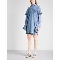 Distressed A-line denim dress