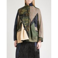 Patchwork cotton, shell and wool-blend jacket