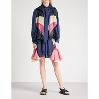 Convertible chiffon and satin jacket dress