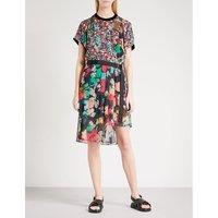 Asymmetric floral-print chiffon mini dress