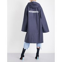 Vetements Ladies Navy Concealed Zip Logo-Print Oversized Pvc Raincoat, Size: One Size