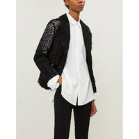 Cutout-waist floral cotton-lace jacket