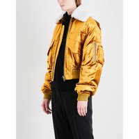 Detachable shearling-collar velvet bomber jacket