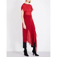 Flared-hem semi-sheer silk dress