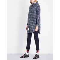 Checked hooded shell raincoat