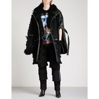Leather-trim shearling and suede coat