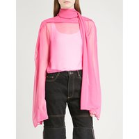 Neck tie chiffon cropped top
