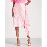 Asymmetric high-rise lace skirt