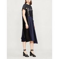 Contrast-panel pleated satin and linen midi dress