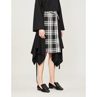 Checked contrast panel asymmetric wool skirt