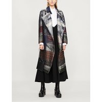 Contrast-panel silk-jacquard and silk-organza wrap coat