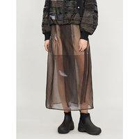 Pleated-panel silk-organza midi skirt