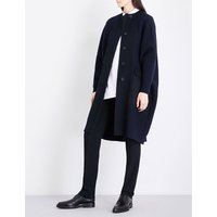 Jil Sander Ladies Dark Blue Textured Casual Oversized Wool And Cashmere-Blend Bouclé Coat, Size: L
