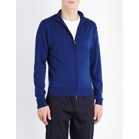 John Smedley Zipped merino-wool cardigan, Mens, Size: Large, Indigo
