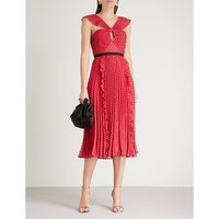 Plumetis chiffon midi dress