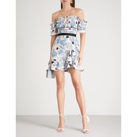 Self-Portrait Ladies Pink Floral-Print Frill Off-The-Shoulder Crepe Dress