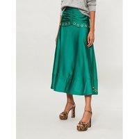 Eyelet-embellished satin midi skirt