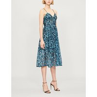 Self-Portrait Ladies Blue Floral-Print Sequin Azaelea Midi Dress