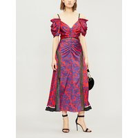 Self-Portrait Ladies Blue and Red Floral-Print Off-The-Shoulder Lace-Panelled Satin Midi Dress