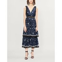 Star-print pleated satin midi dress