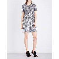 Leopard sequinned mini dress