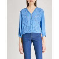 Hilma floral-embroidered linen-blend top
