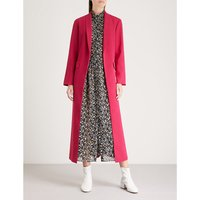 Angela shawl-lapel crepe coat