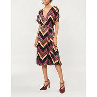 Lexa chevron-pattern crepe wrap dress