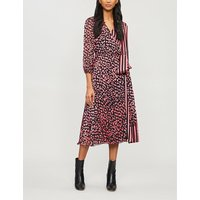 Abigail printed devoré and silk-satin midi wrap dress