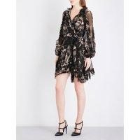 Maples Feathery silk-georgette wrap dress