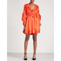 Ruffle silk mini dress