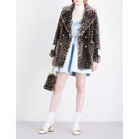 Gavin leopard-print faux-fur coat