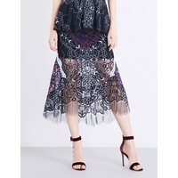 Two-tone high-rise lace skirt