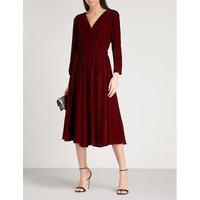 Wrap-front velvet dress