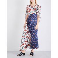 Ashness floral-print satin dress